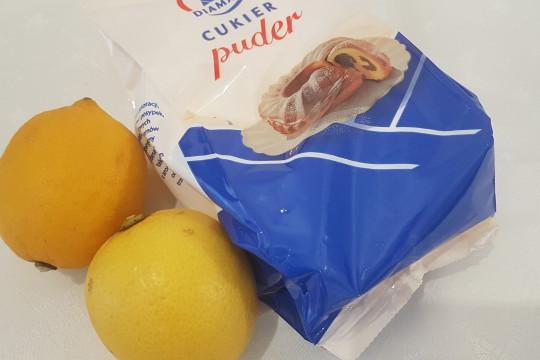 Składniki na lukier cytrynowy.
